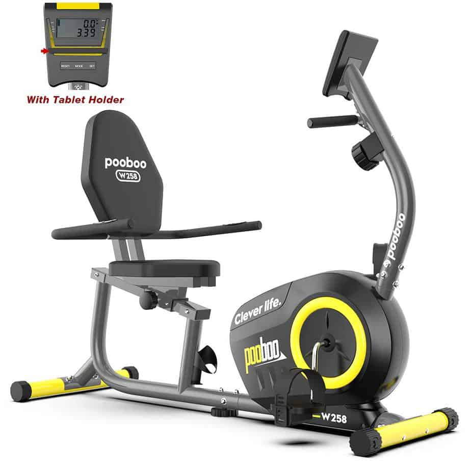 The VPooboo Magnetic W258 Recumbent Bike with its console/Monitor in dislay