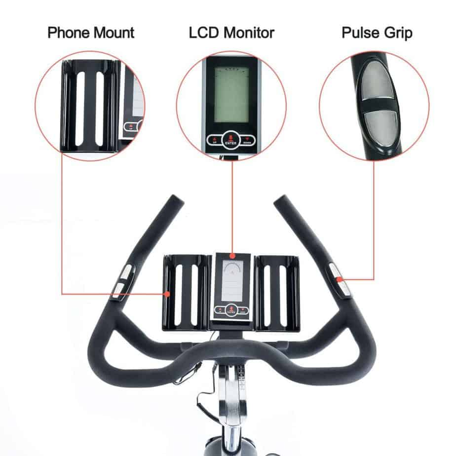 The phone mount, console, the EKG HR sensors, and the handlebar of the TECHMOO Indoor Cycling Bike