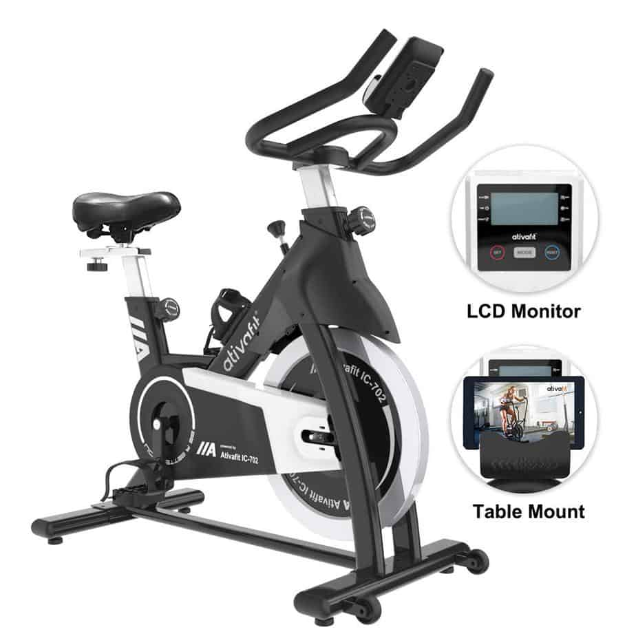 The Ativafit IC-702 Indoor Cycling Bike with the console/monitor and a tablet device on the tablet holder