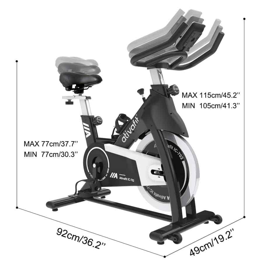 The adjustable seat and handlebar of the Ativafit IC-702 Indoor Cycling Bike on display