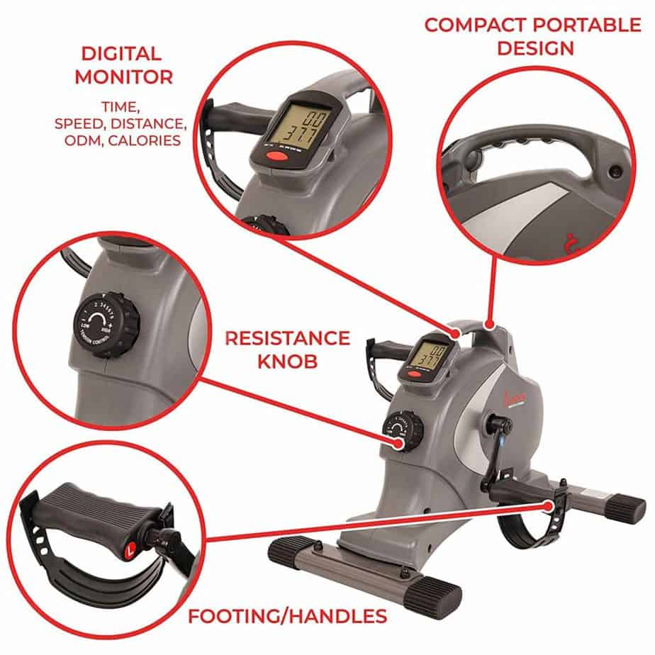 The pedal/handle, and the LCD monitor of the Sunny Health & Fitness SF-B0418 Mini Bike