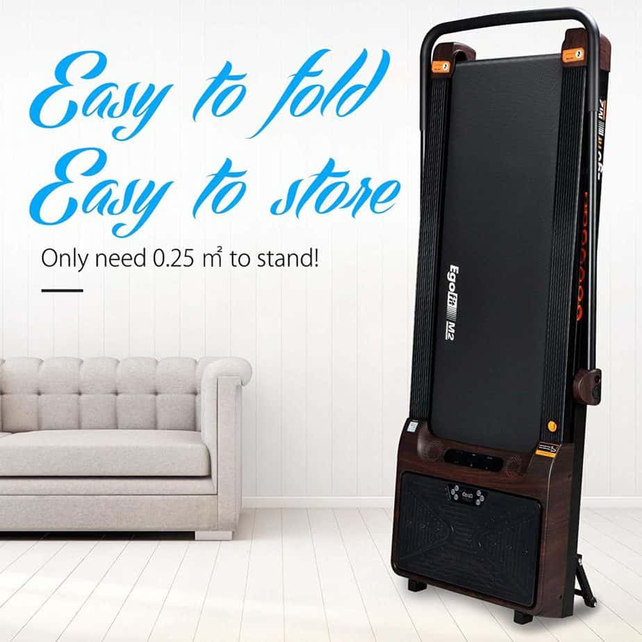 The Egofit M2 Treadmill stored vertically