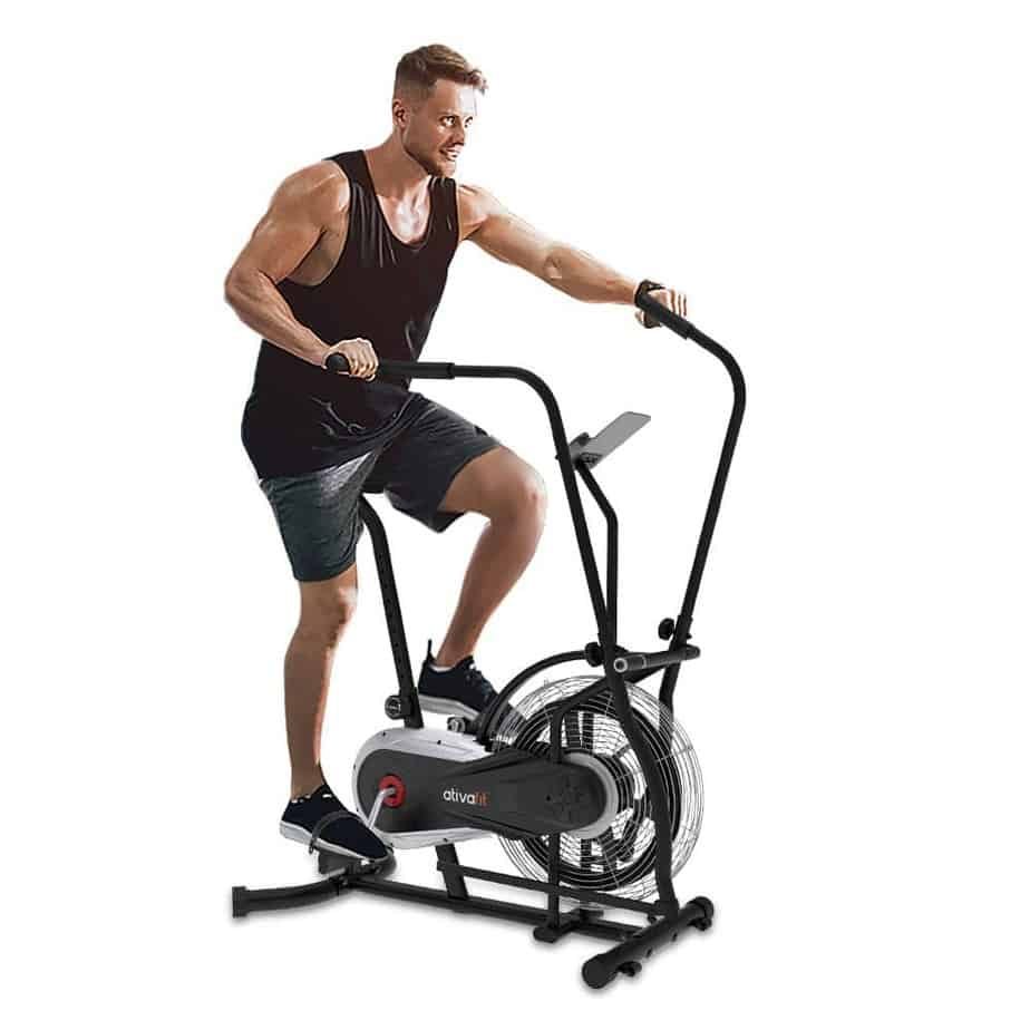 The Ativafit Fan Bike is being ridden by a male athlete