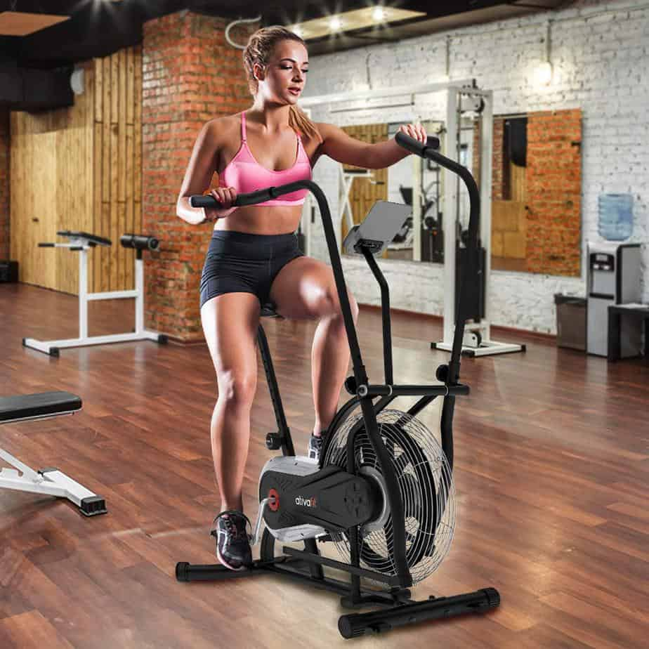 The Ativafit Fan Bike is being ridden by a lady athlete