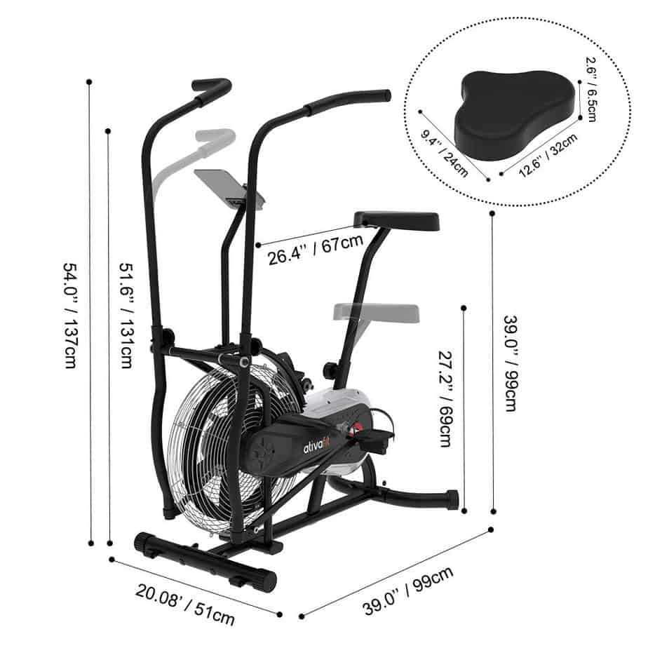 The Ativafit Fan Bike's seat and its adjustability