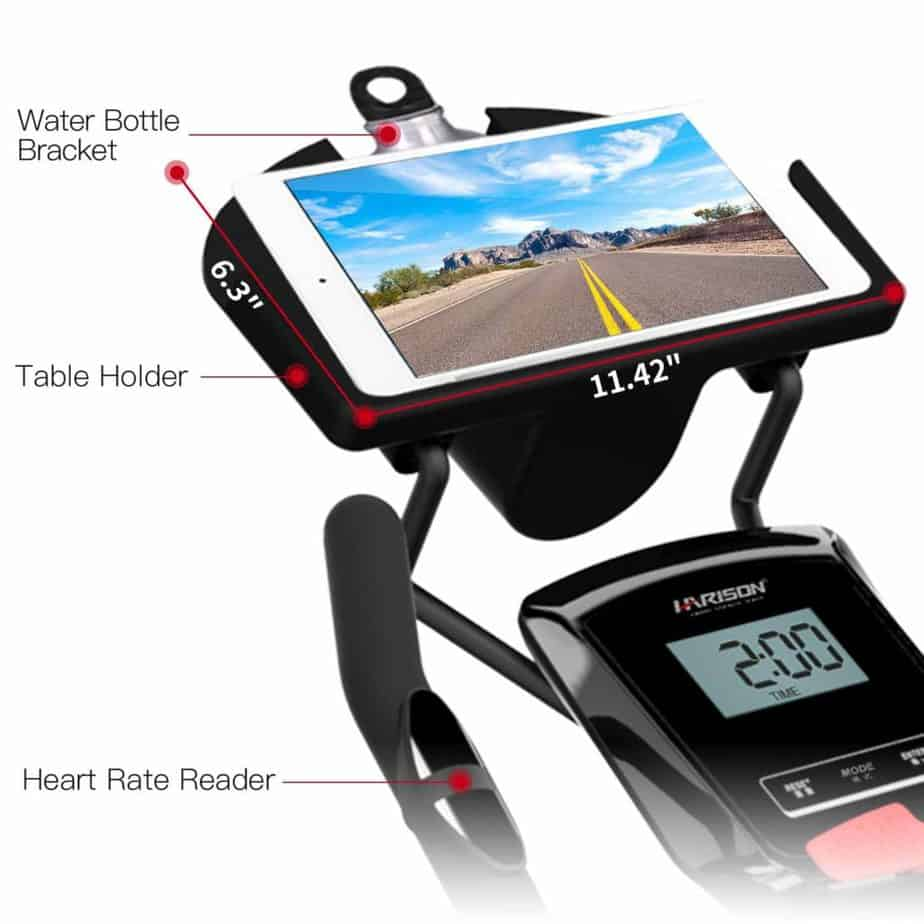 Tablet holder of the HARISON Magnetic B7 Upright Bike