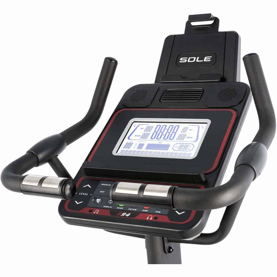 The Console and the handlebar of the Sole LCB Upright Bike