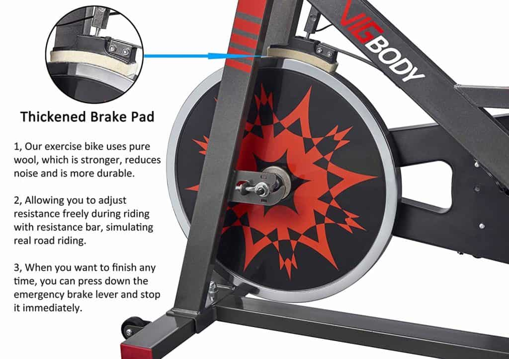 The wool felt brake pad and the flywheel of the VIGBODY HL-5801 Indoor Exercise Bike