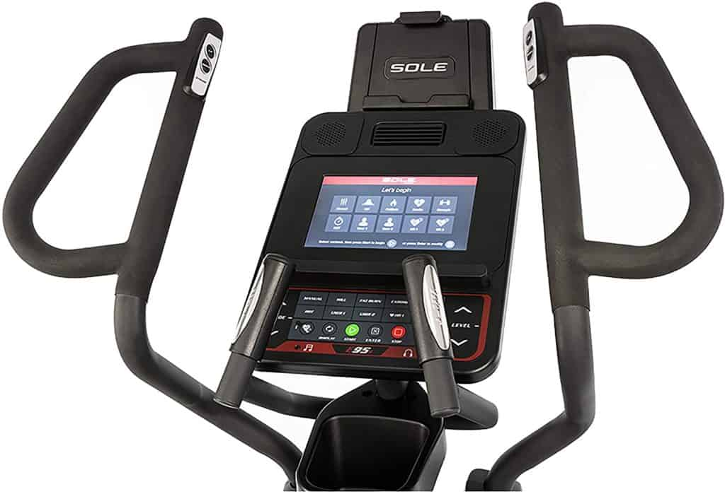 The console and the handlebars of the SOLE E95S Elliptical