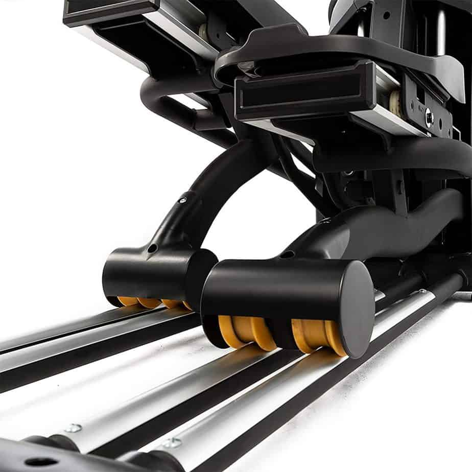 The rails and the rollers of the SOLE E95S Elliptical