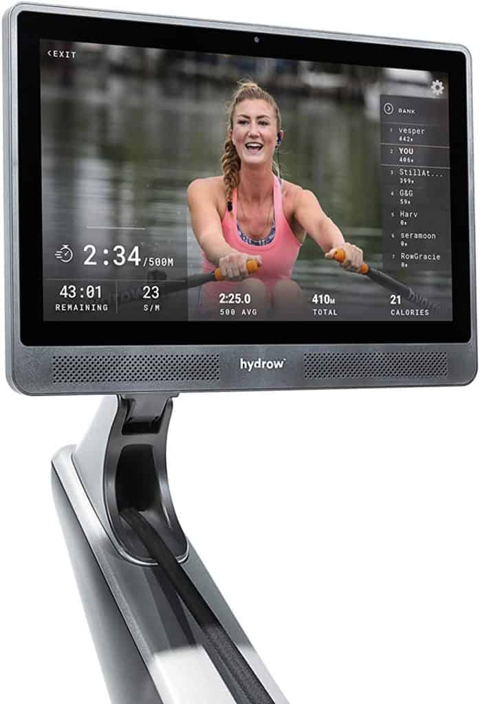 The 22'' HD touchscreen monitor of the Hydrow Live Outdoor Reality Rower