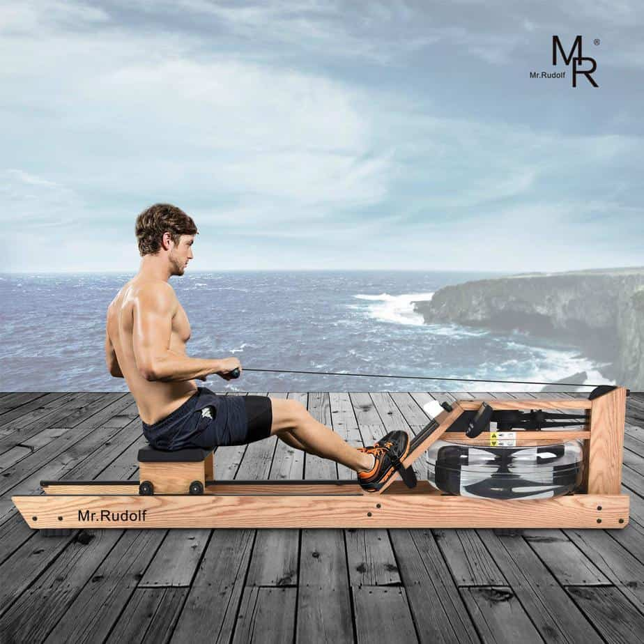A man rowing on the Mr. Rudolf WaterRower