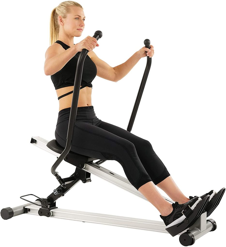 A lady rowing on the Sunny Health and Fitness SF-RW5720 Incline Slide Rower