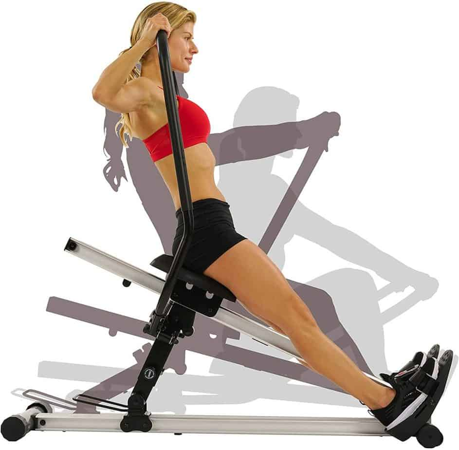 A female rower exercising with the Sunny Health and Fitness SF-RW5720 Incline Slide Rower