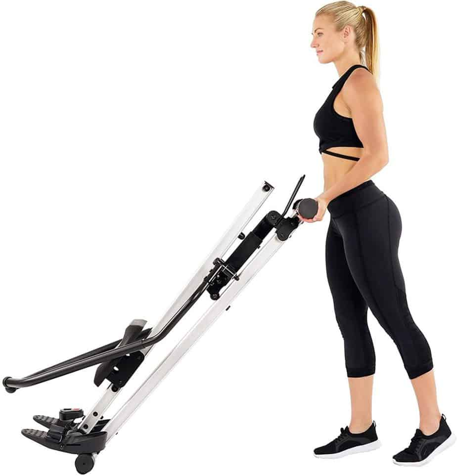 A user is moving the Sunny Health and Fitness SF-RW5720 Incline Slide Rower to storage