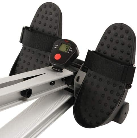 The pedals of the Sunny Health and Fitness SF-RW5720 Incline Slide Rower