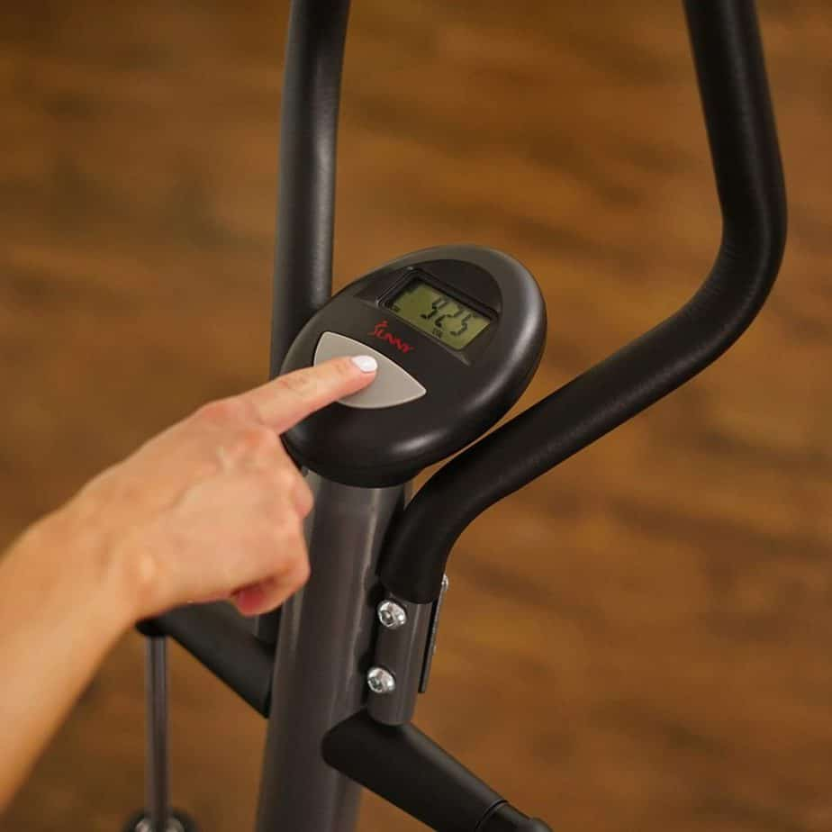 The LCD monitor of the Sunny Health and Fitness SF-1115 Folding Climbing Stepper