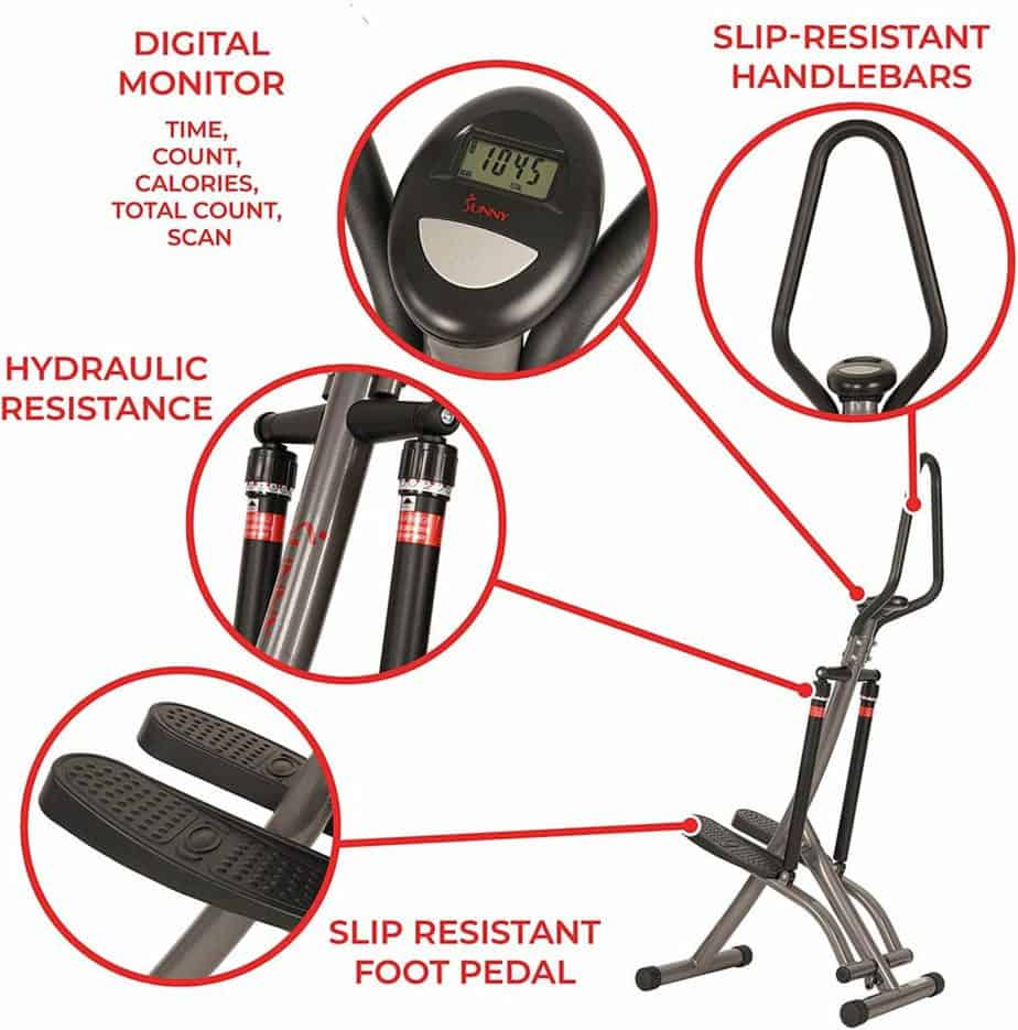 The pedals, the dual hydraulic cylinders, the console, and the handlebar of the Sunny Health and Fitness SF-1115 Folding Climbing Stepper