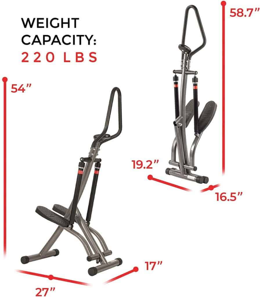The assembled and folded Sunny Health and Fitness SF-1115 Folding Climbing Stepper