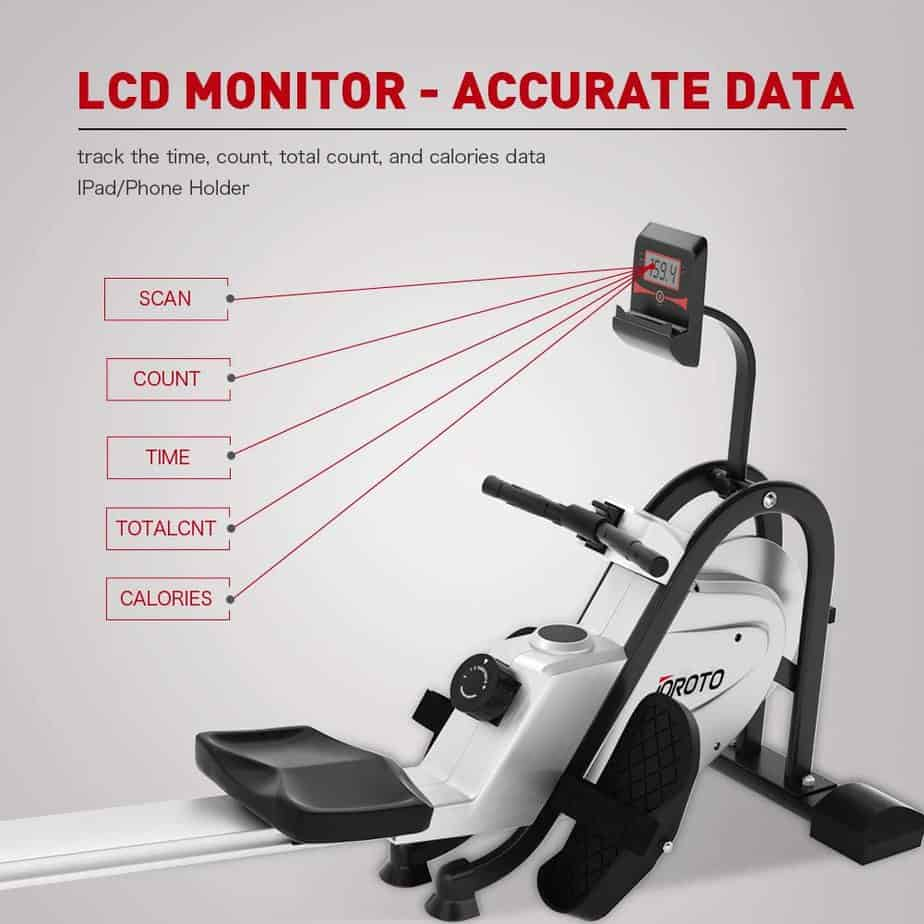 The workout stats the LCD monitor of the JOROTO MR35 Rowing Machine tracks