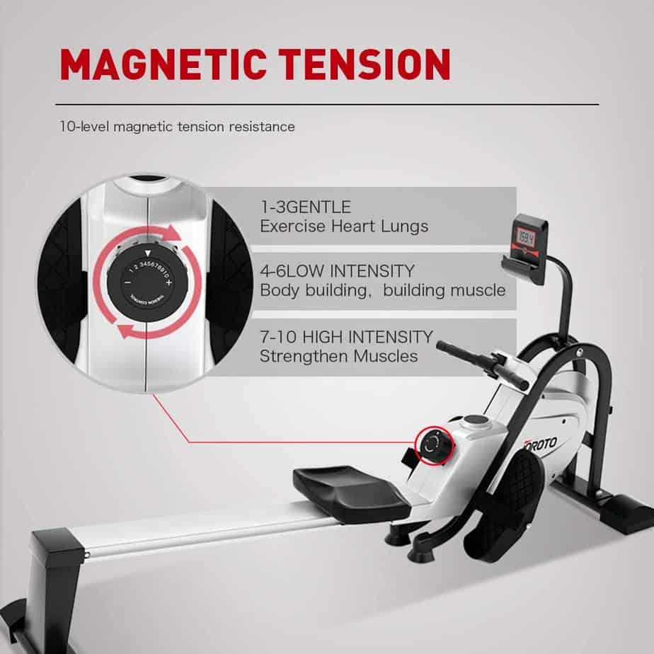 The resistance tension knob of the JOROTO MR35 Rowing Machine