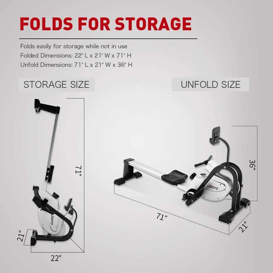 The vertical storage form of the JOROTO MR35 Rowing Machine