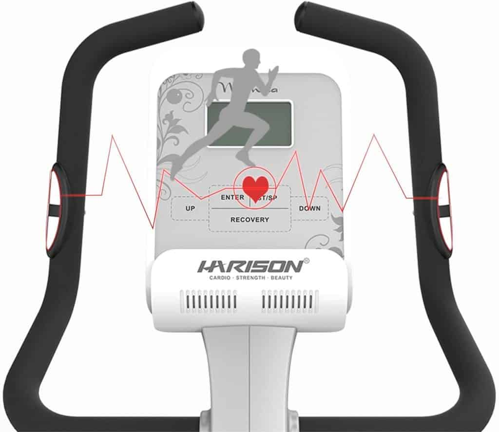 The EKG HR sensors and the console of the HARISON B5 Upright Magnetic Bike