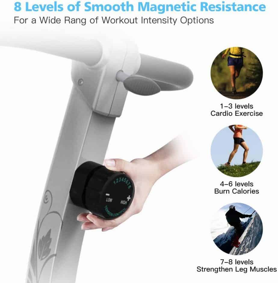 The tension knob that controls the resistance level of the HARISON B5 Upright Magnetic Bike