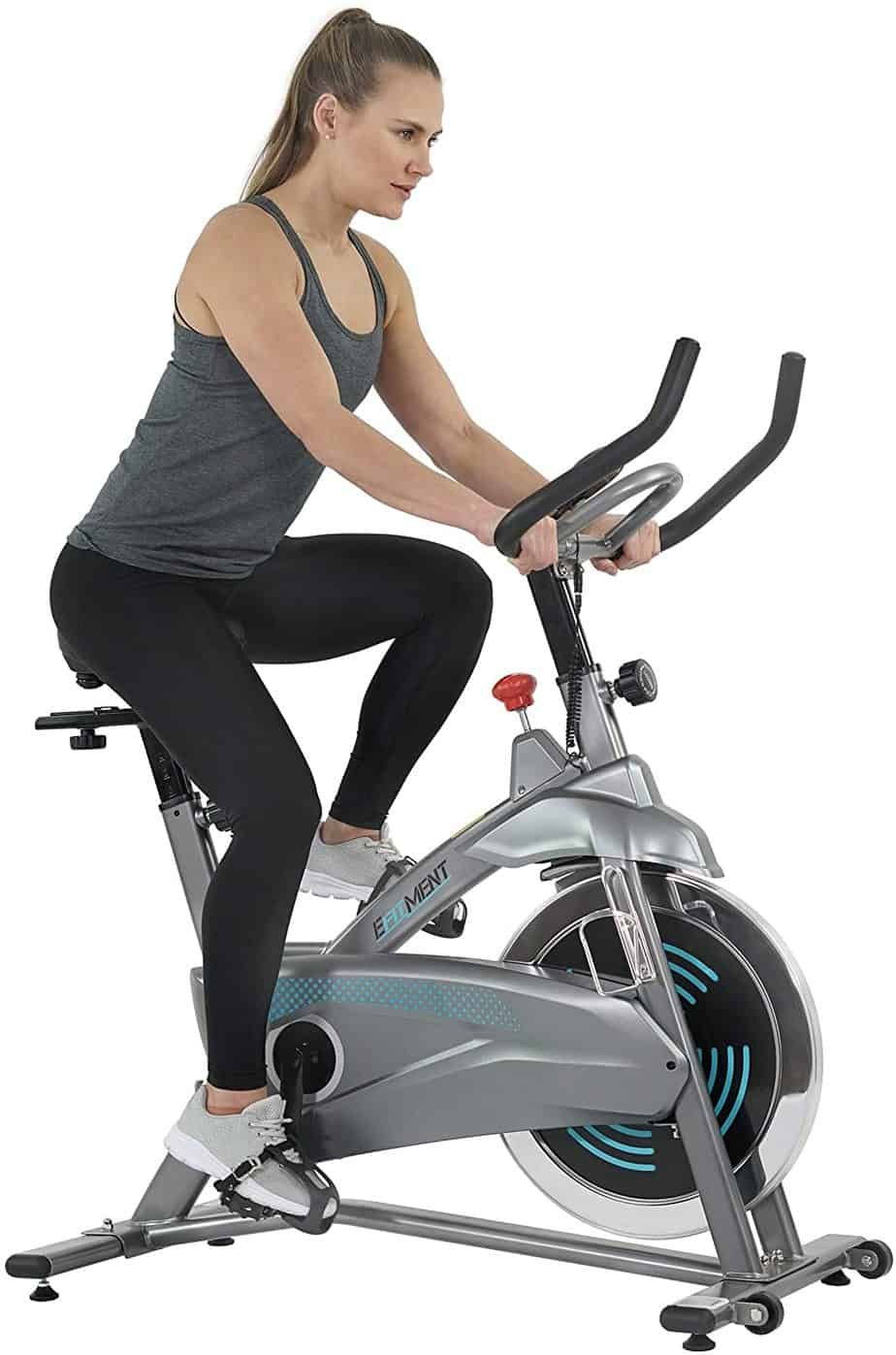 A lady is riding the EFITMENT IC037 Indoor Cycling Bike
