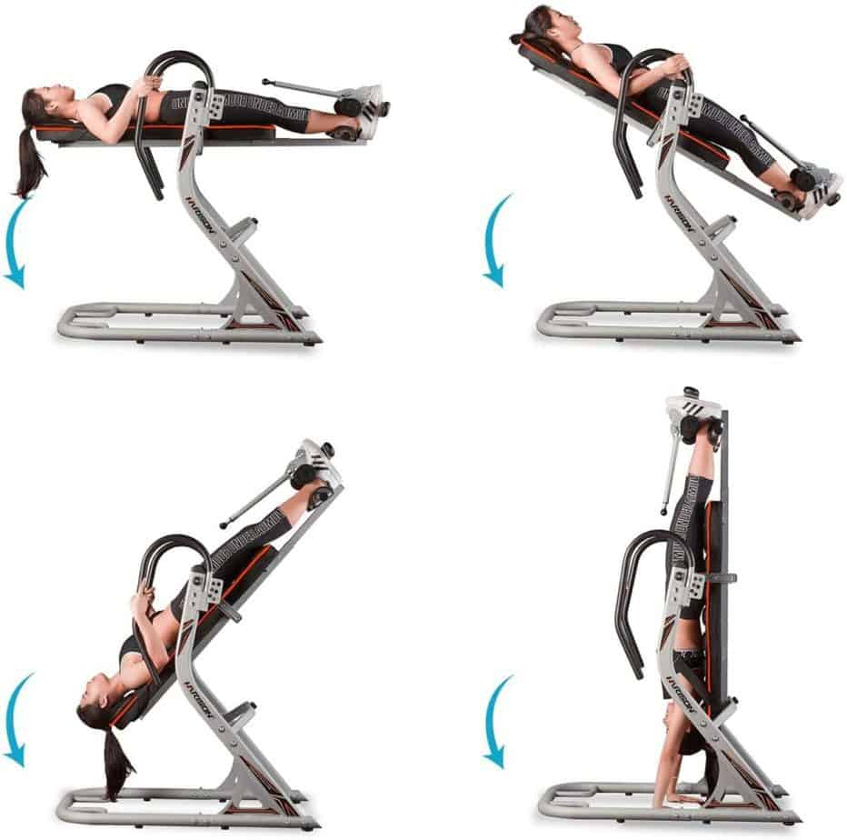 The different angles of the HARISON 407 Inversion Table