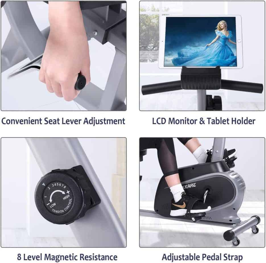 The drive, seat adjustment lever, the tension knob, and the tablet holder of the MaxKare Recumbent Exercise Bike