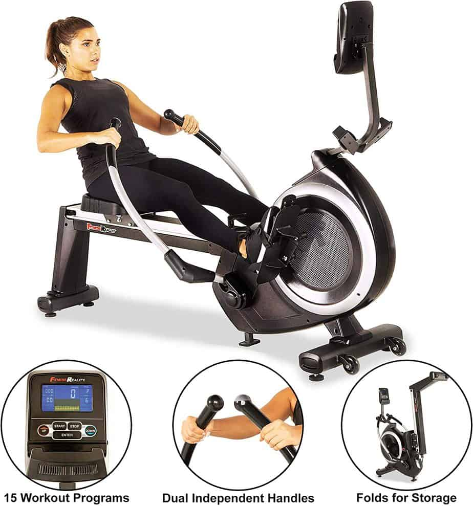 A lady is working out with the Fitness Reality 4000MR Magnetic Rower