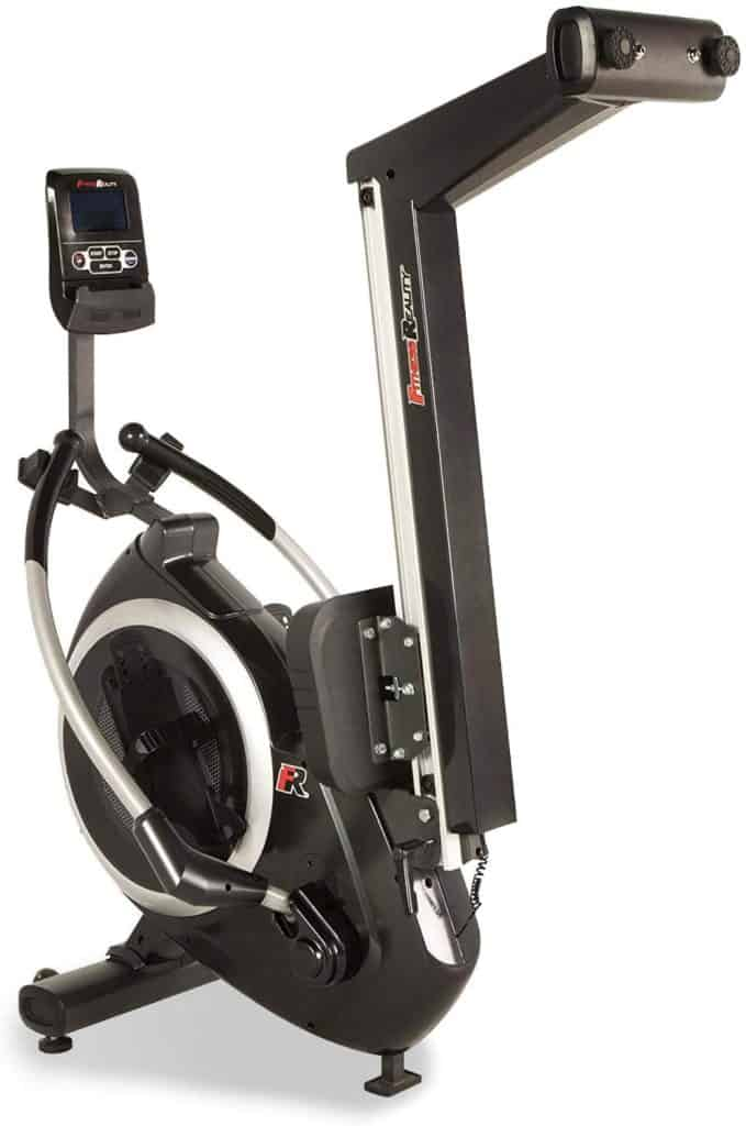 The Fitness Reality 4000MR Magnetic Rower is folded and ready for storage