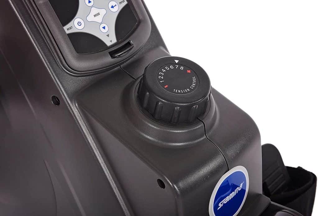 The control knob of the Stamina Conversion II Recumbent Bike/Rower