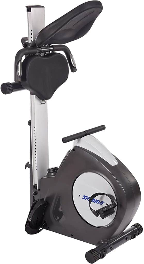 The folded Stamina Conversion II Recumbent Bike/Rower ready for storage