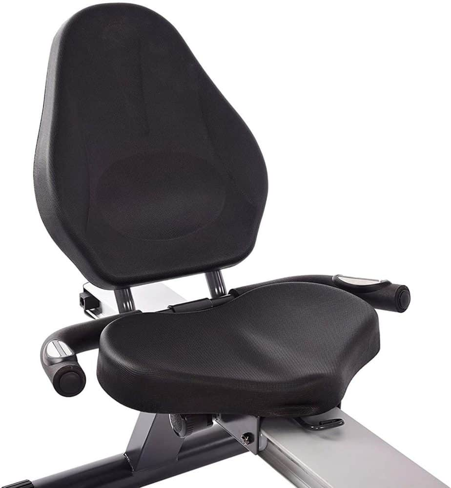 The recumbent seat of the Stamina Conversion II Recumbent Bike/Rower