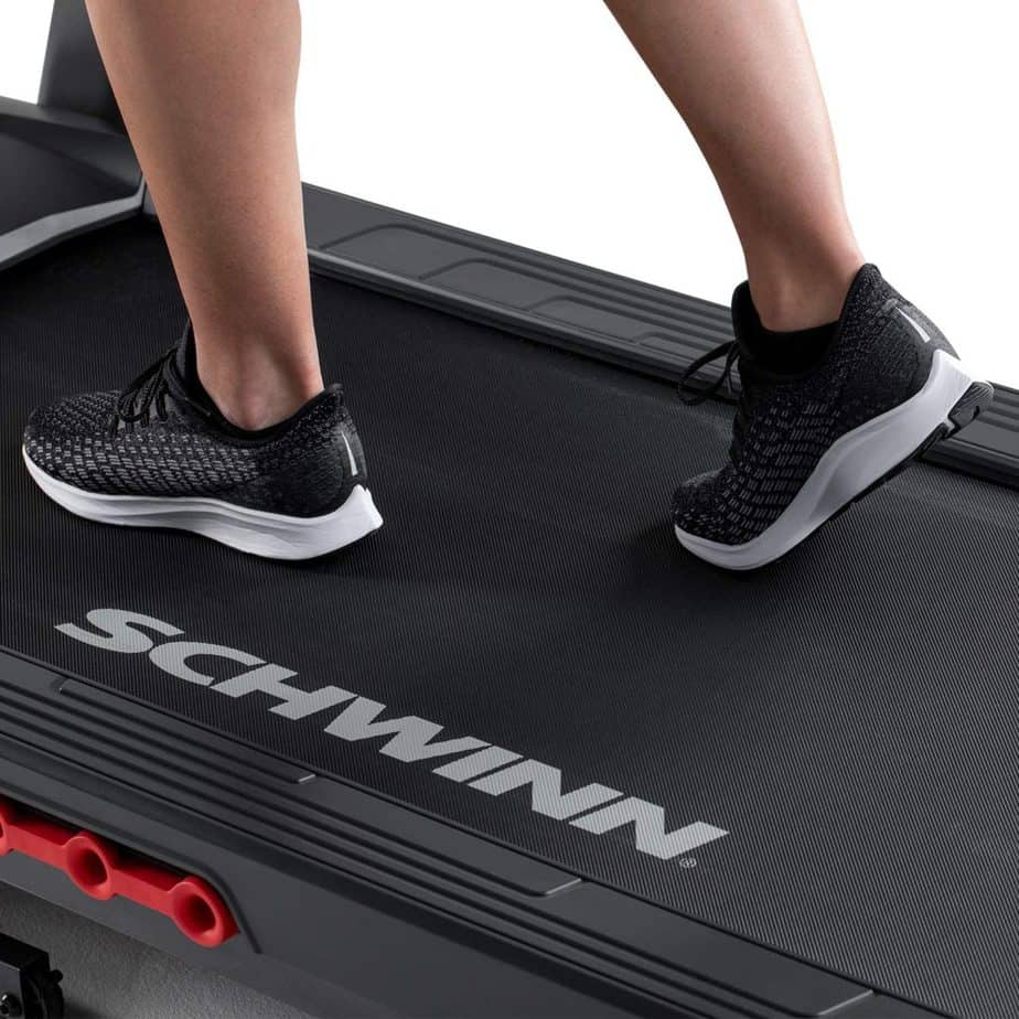 The deck of the Schwinn 810 Treadmill Model 100799