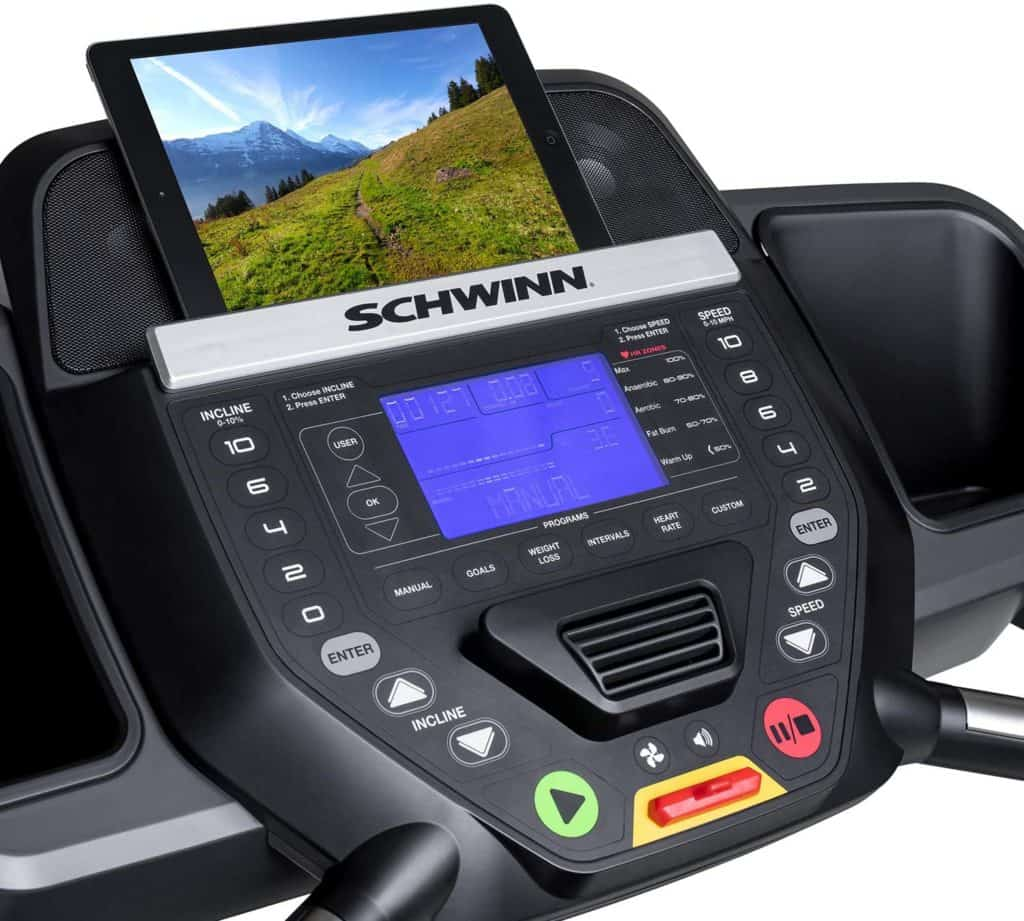The dashboard/console of the Schwinn 810 Treadmill Model 100799