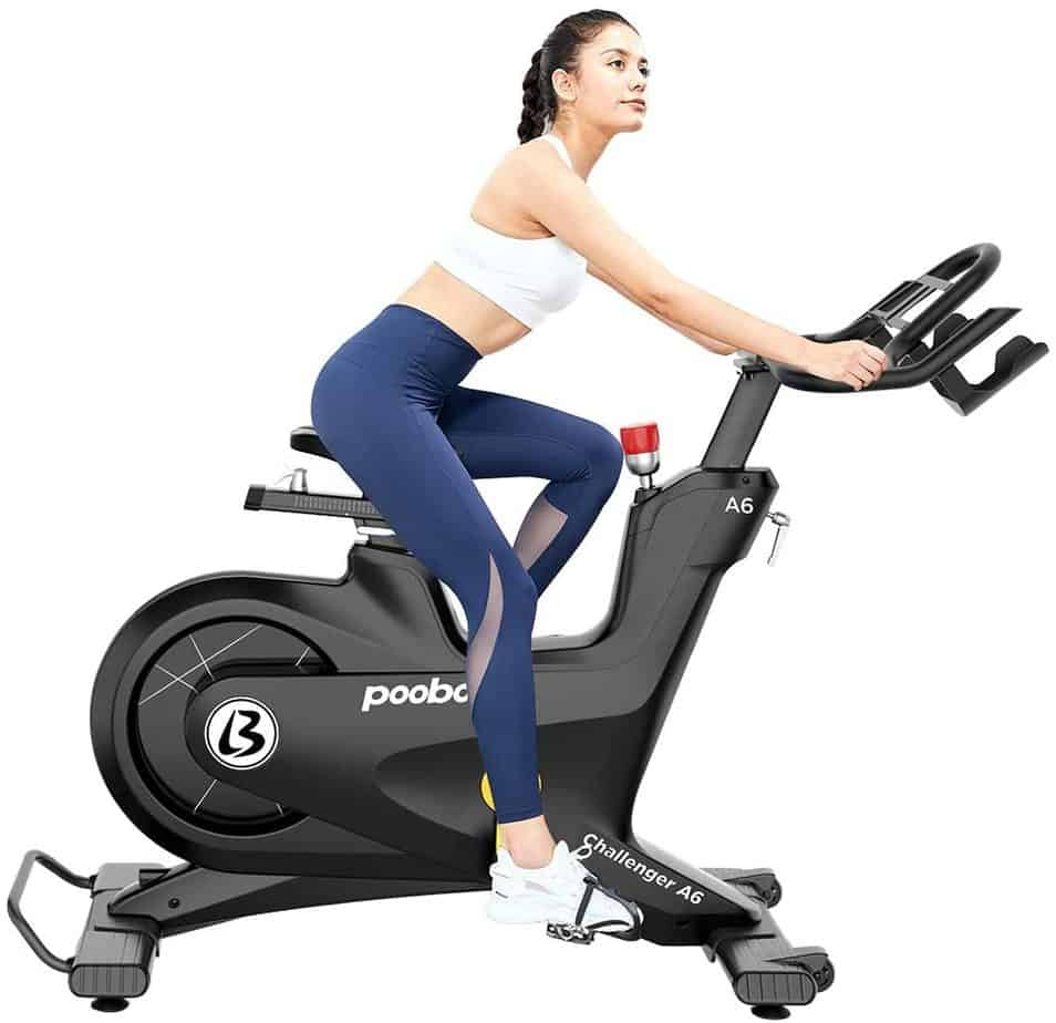 A lady is riding the Pooboo Commercial A6 Challenger Cycling Bike