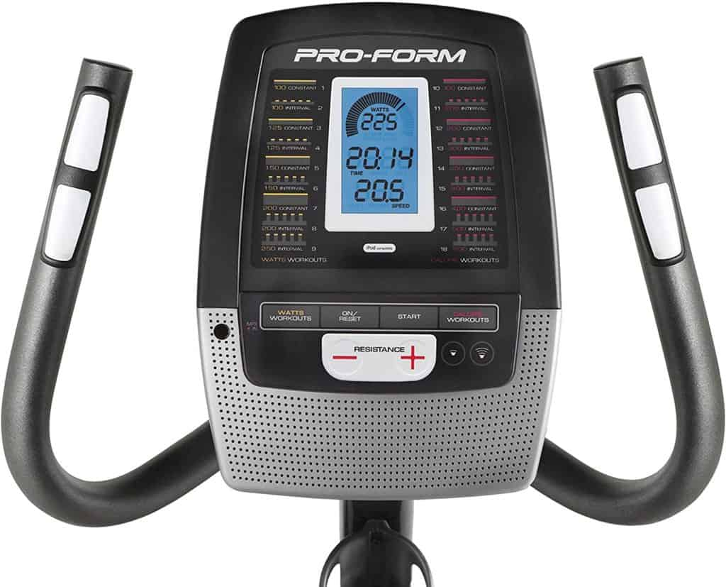The console and the front handlebars of the ProForm 235 CSX Recumbent Exercise Bike