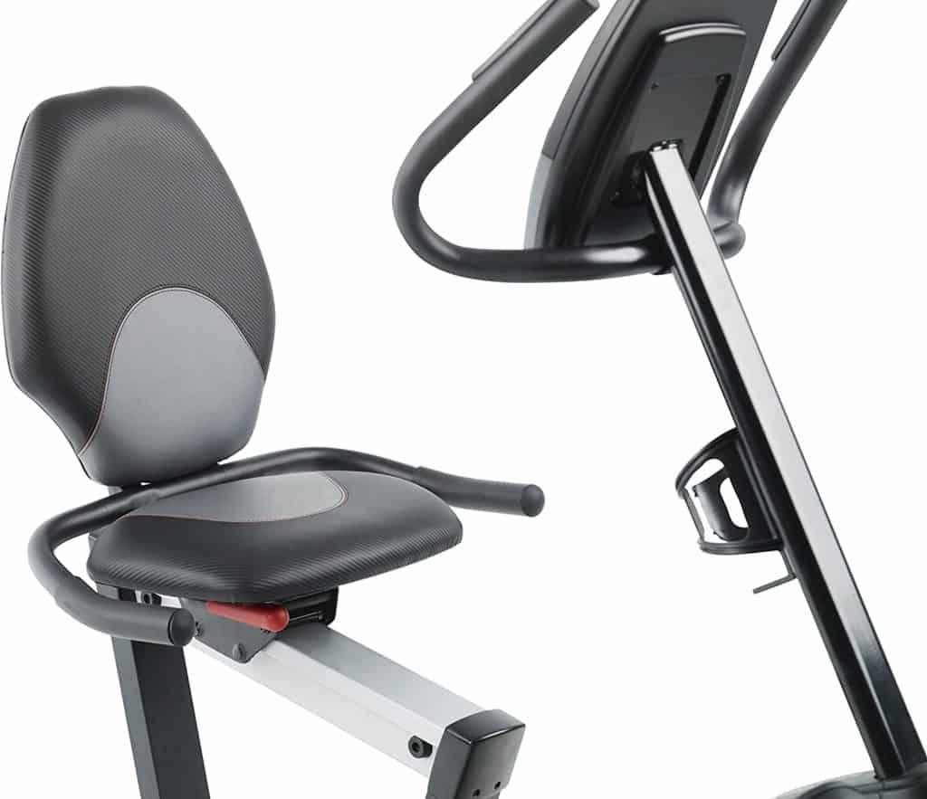 The seat of the ProForm 235 CSX Recumbent Exercise Bike
