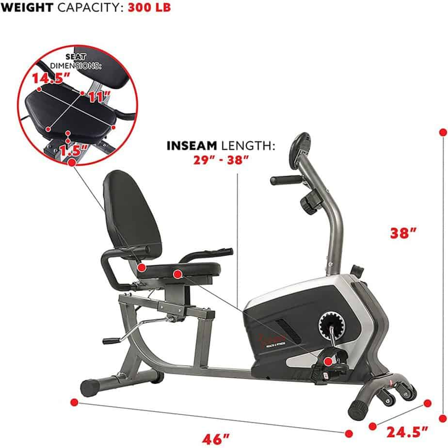 The seat of the Sunny Health and Fitness SF-RB4616 Magnetic Recumbent Bike