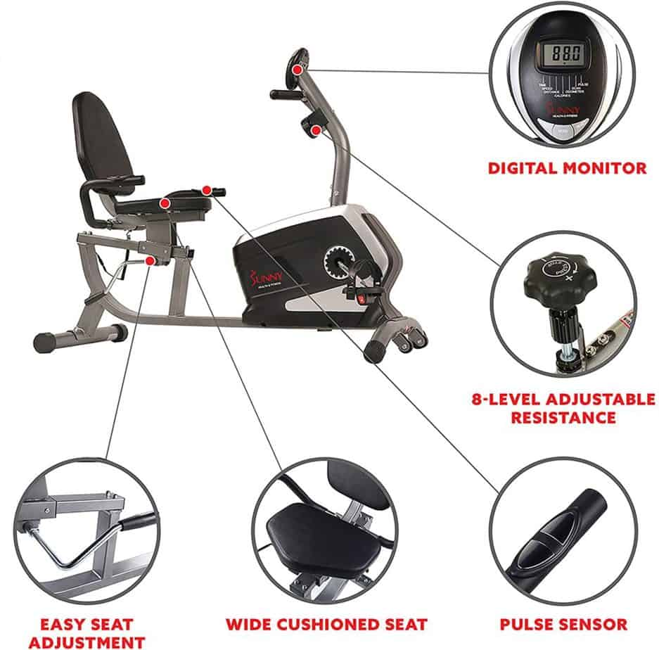 The features of the Sunny Health and Fitness SF-RB4616 Magnetic Recumbent Bike