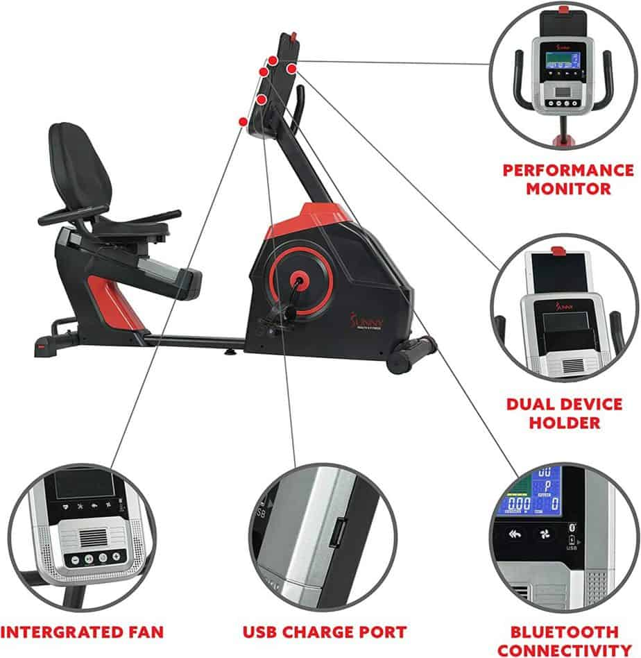 The console, the dual device holder, cooling fan, USB charging port, and Bluetooth connectivity of the Sunny Health & Fitness SF-RB4954 Evo-Fit Recumbent Bike