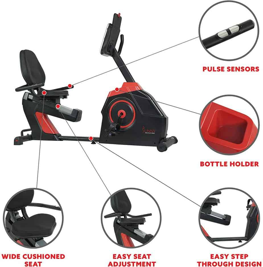 The seat, heart rate sensors, water bottle holder, seat adjustabment, and easy step-thru design of the Sunny Health & Fitness SF-RB4954 Evo-Fit Cardio Recumbent Bike
