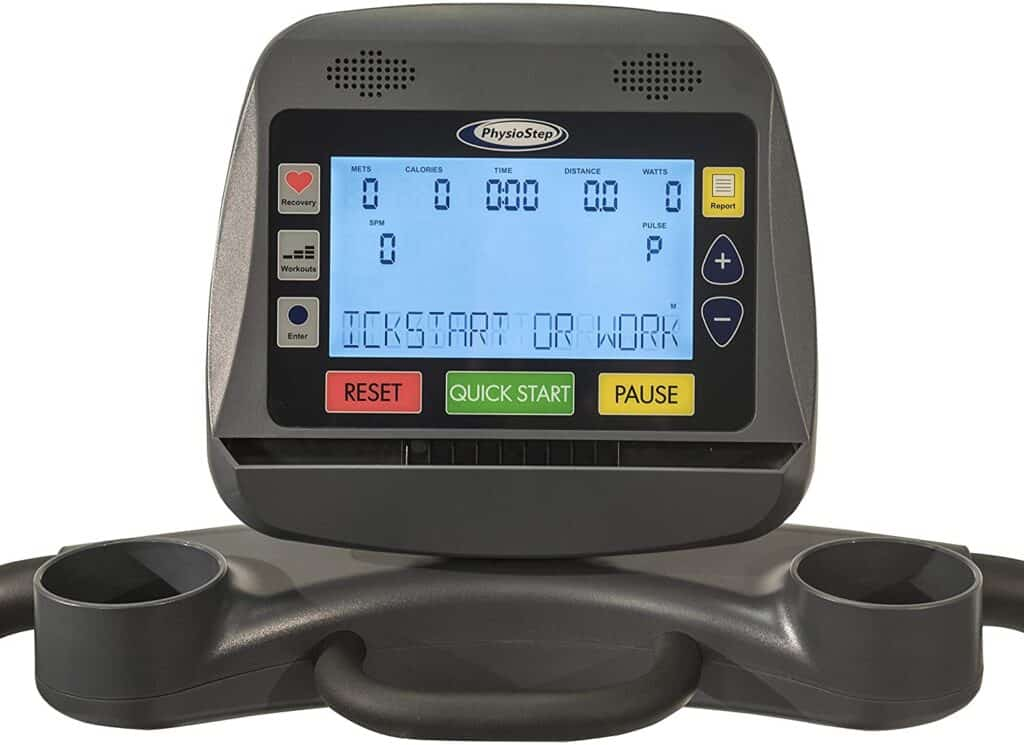 The console of the HCI Fitness PhysioStep RXT-1000 Recumbent Elliptical Trainer