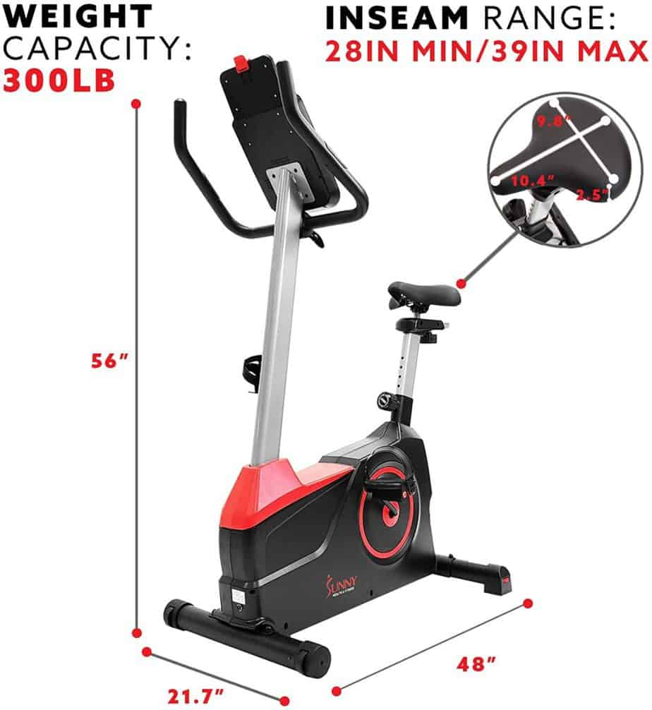 The seat of the Sunny Health & Fitness Evo Fit SF-B2969 Upright Bike