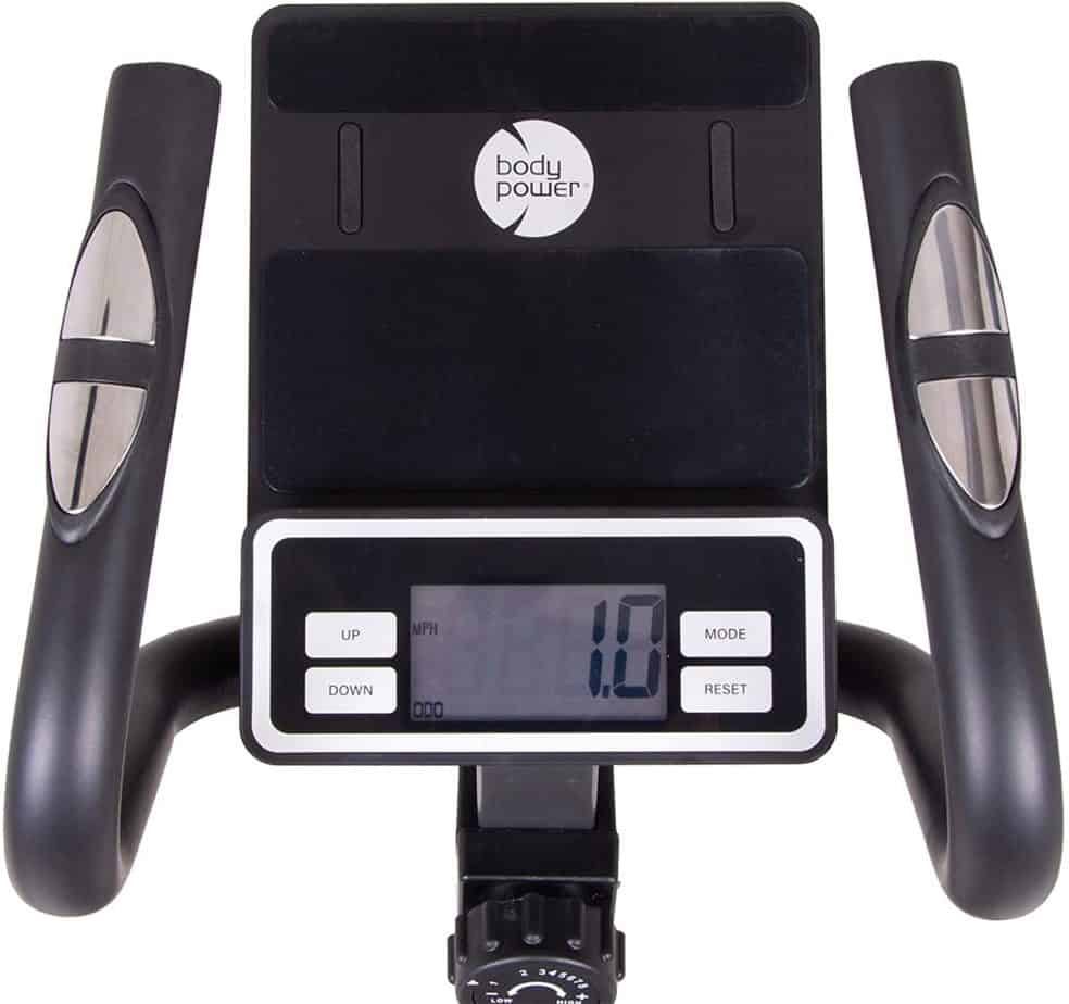 The console and the tablet holder of the Body Power 2-in-1 BST800 Elliptical Stepper Trainer