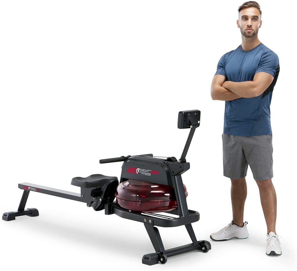 An athlete standing by the Circuit Fitness AMZ-167RW Water Rowing Machine