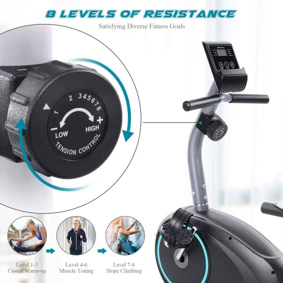 The resistance control knob of the Marnur Recumbent Exercise Bike
